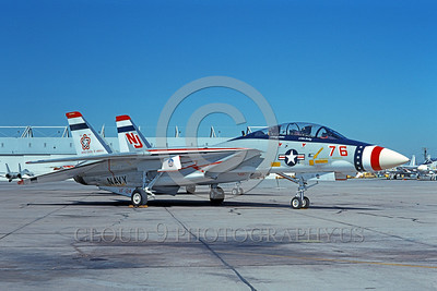 F-14USN-BIC 0001 A static Grumman F-14 Tomcat USN 159616 VF-124 GUNFIGHTERS bicentennial markings NAS Miramar 1-1976 military airplane picture by Michael Grove, Sr