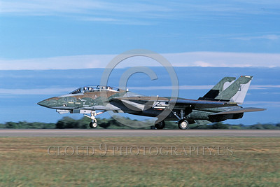 F-14USN-CAM 0007 A landing Grumman F-14 Tomcat USN VF-124 GUNFIGHTERS 11-1986 military airplane picture by Michael Grove, Sr