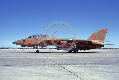 F-14USN-CAM 0001 A taxing pinkish-brown and green water color camouflage USN Grumman F-14 Tomcat jet fighter 159831 NAS Fallon 6-1985 military airplane picture by Michael Grove, Sr