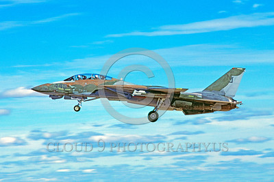 F-14USN-CAM 0016 A water color paint camouflage Grumman F-14 Tomcat take-off 11-1986 military airplane picture by Michael Grove, Sr