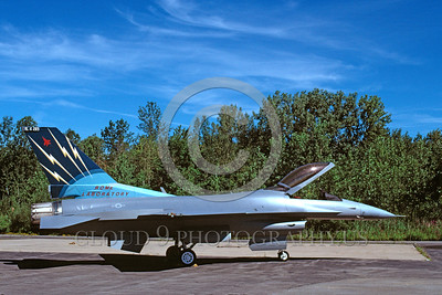 EE-F-16USAF 00002 A static colorful Lockheed Martin F-16 Fighting Falcon USAF jet fighter Rome Labatory 8-1997 military airplane picture via African Aviation Slide Service