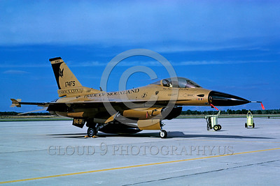 EE-F-16ANG 00001 A static gold color Lockheed Martin F-16 Fighting Falcon jet fighter Iowa ANG 174 Sqd  THE BATS Pride of Siouxland 7-1996 military airplane picture by Norris Graser via African Aviation Slide Service