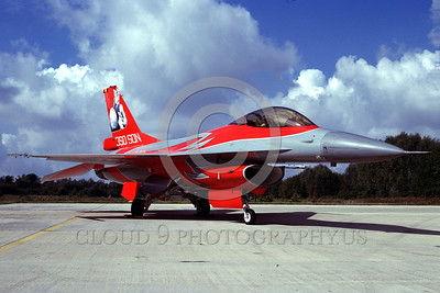 EE-F-16Forg 00007 A static colorful Lockheed Martin F-16 Fighting Falcon Dutch Air Force jet fighter 9-1997 military airplane picture by Marinus Tabak