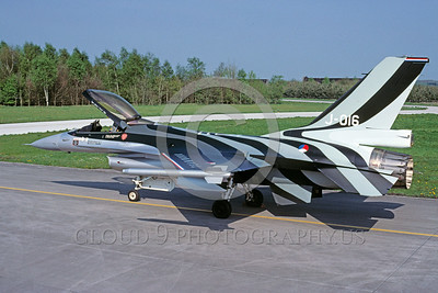 EE-F-16Forg 00023 A static colorful Lockheed Martin F-16 Fighting Falcon Dutch Air Force J-016 5-2001 military airplane picture via African Aviation Slide Service
