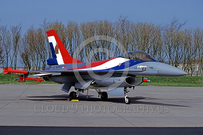 EE-F-16Forg 00011 A static colorful Lockheed Martin F-16 Fighting Falcon Dutch Air Force jet fighter J-213 4-1992 military airplane picture by Marinus Tabak