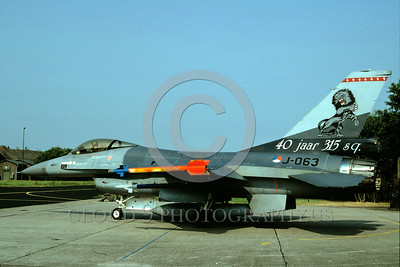 EE-F-16Forg 00020 A static colorful Lockheed Martin F-16 Fighting Falcon Dutch Air Force jet fighter 9-1992 military airplane picture via African Aviation Slide Service