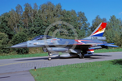 EE-F-16Forg 00004 A taxing colorful Dutch Air Force Lockheed Martin F-16 Fighting Falcon J-508 jet figher 10-1996 military airplane picture by Meinoif Krassort via African Aviation Slide Service