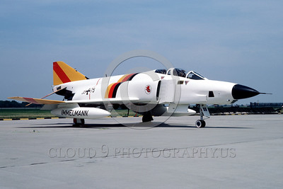EE-F-4Forg 00003 A static colorful McDonnell Douglas RF-4 Phantom II German Air Force 35+75 7-1984 military airplane picture by Kurt Thomsen