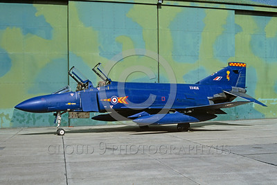 EE-F-4Forg 00022 A static blue McDonnell Douglas F-4 Phantom II British RAF XV408 jet fighter 9-1992 military airplane picture via African Aviation Slide Service