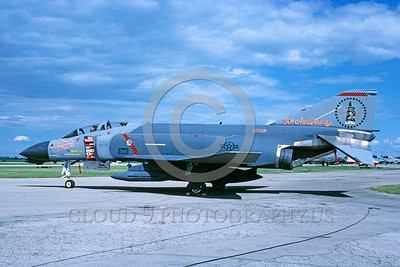 EE-F-4USAF 00001 A static colorful McDonnell Douglas F-4 Phantom II USAF Reserves jet figher 6-1988 military airplane picture by Regent Dansereau