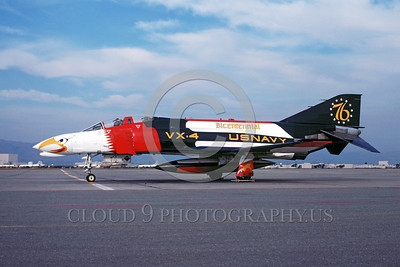 BIC-F4USN 00001 A static colorful McDonnell Douglas F-4 Phantom II USN VX-4 THE EVALUATORS NAS Moffett military airplane picture by Michael Grove, Sr