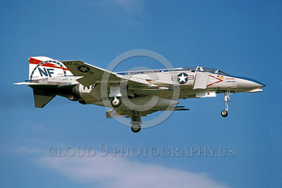 BIC-F4USN 00008 A landing McDonnell Douglas F-4 Phantom II USN USS Midway NF code bicentennial markings commander's airplane 1976 military airplane picture by Hideki Nagakubo