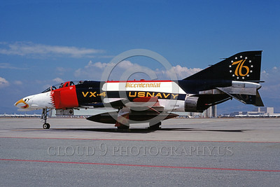 BIC-F4USN 00005 A static colorful McDonnell Douglas F-4 Phantom II USN 153088 VX-4 THE EVALUATORS NAS Moffett 1976 military airplane picture by Peter J Mancus