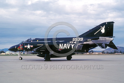 EE-F-4USN 00002 A static black McDonnell Douglas F-4 Phantom II US Navy jet fighter 155539 VX-4 THE EVALUATORS  NAS Pt Mugu 1-1983 military airplane picture by Michael Grove,Sr