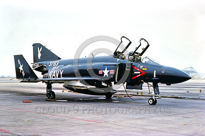 EE-F-4USN 005 A static black McDonnell Douglas F-4J Phantom II USN 15383 carrier based jet fighter VX-4 THE EVALUATORS with Playboy bunny on tail NAS Pt  Mugu 9-1975, by Stephen W  D  Wolf     BBB_8819     DoneWT