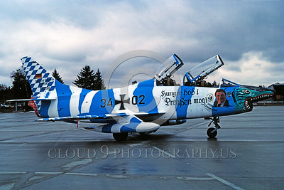EE-G91 00004 A static colorful Fiat G91 German Air Force attack jet sharkmouth 3-1982 military airplane picture via African Aviation Slide Service