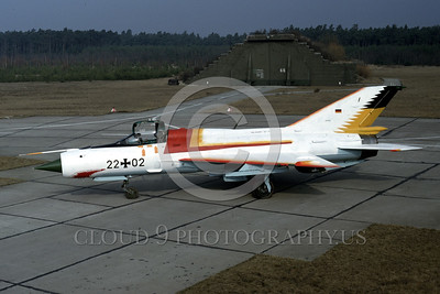 EE-MiG 21 00003 A static colorful sharkmouth Mikoyan-Guryevich MiG-21 Fishbed jet fighter 3-1991 military airplane picture by Wilfried Zetsche