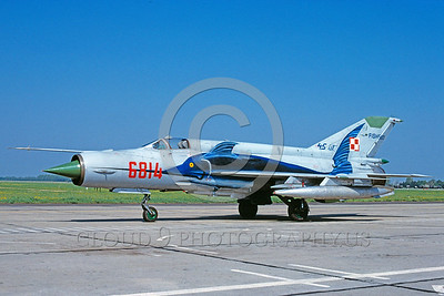 EE-MiG-21 00007 A static colorful Mikoyan-Guryevich MiG-21 Fishbed Polish Air Force jet fighter 5-2000 military airplane picture by Marinus Tabak