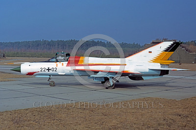 EE-MiG-21 00002 A static Mikoyan-Guryevich MiG-21 Fishbed German Air Force 22+02 sharkmouth 3-1991 military airplane picture by Wolfgang Greweling via African Aviation Slide Service