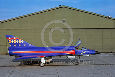 EE-Mirage III 00001 A static colorful Dassault Mirage III French Air Force jet fighter easter egg 5-1987 military airplane picture by Daniel Loreille via African Aviation Slide Service