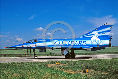 EE-Mirage III 00012 A static colorful Dasault Mirage III French Air Force jet fighter 7-1999 military airplane picture by H J van Borksheim