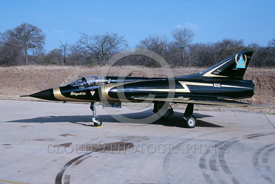 EE-Mirage III 00002 A static colorful Dassault Mirage III South African Air Force jet fighter easter egg 10-1995 military airplane picture by Ian Malcolm via African Aviation Slide Service