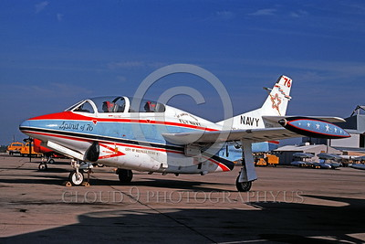 BIC-T-2USN 00001 A static North American T-2 Buckeye USN jet trainer SPIRT OF 76 bicentennial markings NAS Miramar 1976 military airplane picture by Peter J Mancus