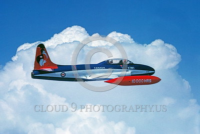 EE-T-33Forg 00004 A flying colorful Lockheed T-33 Shooting Star Canadian Armed Forces jet trainer 6-1983 military airplane picture via African Aviation Slide Service