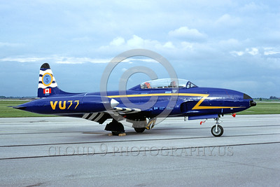 EE-T-33Forg 00001 A static colorful Lockheed T-33 Shooting Star Canadian Armed Forces jet trainer 133102 6-1992 military airplane picture by Chris Walker