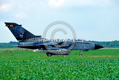 EE-Tornado 00001 A taxing Panavia Tornado German Air Force with large black panther 4-2002 military airplane picture by Raymond Bosselaar