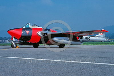 EE-Vampire 00001 A static colorful de Havilland Vampire Swiss Air Force jet figher 9-1989 military airplane picture by Christoph Kugler via African Aviation Slide Service