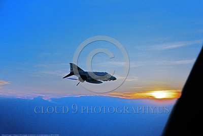 ARTY-F-4II 0003 A flying USN McDonnell Douglas F-4 Phantom II jet fighter VF-21 FREELANCERS at twilight, with tailhook down, USN photo via Tailhook Col  produced by Cloud 9 Photography     DONEwt