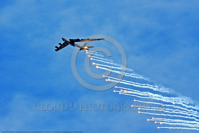 FLARE-B-52 0004 A Boeing B-52 Stratofortress USAF strategic long range jet bomber pops flares as decoys for heat seeking missiles during a training mission 2009 military airplane picture by Michael Grove, sr      DONEwt