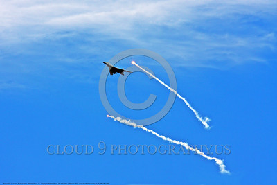 FLARE-B-1 0001 A Rockwell B-1B Lancer USAF strategic jet bomber pops decoy flares to defeat heat seeking missiles during a 2013 training mission military airplane picture by Michael Grove, Sr      DONEwt