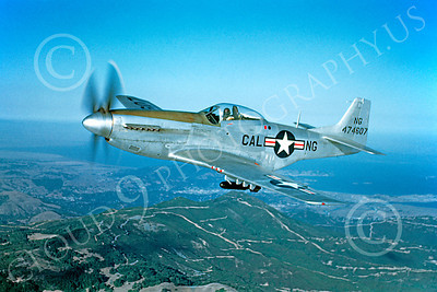 P-51ANG 00010 An outstanding flying California Air National Guard North American P-51D Mustang airplane picture, 15 Oct 1949, by William T Larkins