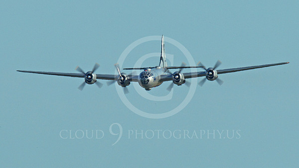 WB - B-29 00016A An in-flight quarter front view of Fifi, a World War II era US Army Air Force Boeing B-29 Superfortress warbird, airplane picture, by Peter J Mancus