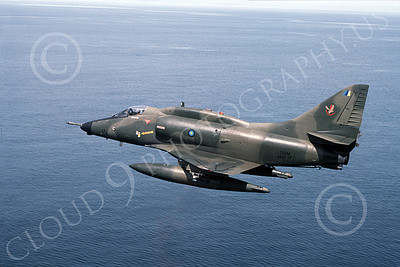 A-4Forg 00006 A Brazilian Navy Douglas A-4 Skyhawk attack jet, military airplane picture, shown flying over a large body of water, by P Steinemann