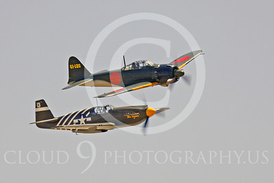 WB - Mitsubishi A6M Zero 00096 Mitsubishi A6M Zero Japanese World War II fighter warbird with North American P-51 Mustang US Army Air Corps World War II fighter warbird by Peter J Mancus