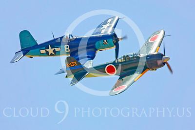 WB - Mitsubishi A6M Zero 00086 Mitsubishi A6M Zero Japanese World War II fighter with Vought F4U Corsair US Navy World War II fighter by Peter J Mancus