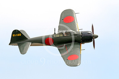 WB - Mitsubishi A6M Zero 00085 A flying Japanese WWII era Mitsubishi A6M Zero fighter, airplane picture, by Peter J Mancus