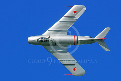 WB-MiG-17 00028 A wonderful, flying, top view, Mikoyan-Guryevich MiG-17 jet fighter warbird in Soviet Air Force markings, airplane picture, by Tim Perkins