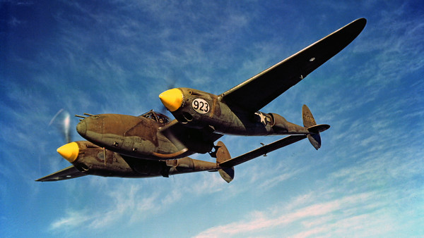P-38 00008 An excellent picture of an in-flight olive drab WWII era Lockheed P-38 Lightning fighter, military airplane picture, Official USAF Picture