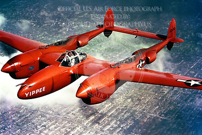 P-38 00022 A flying Lockheed P-38 Lightning, Yippee, military airplane picture, Official USAF Photograph