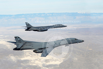 A two-ship of B-1B Lancers assigned to the 28th Bomb Squadron, Dyess Air Force Base, Texas, fly in formation over New Mexico during a training mission Feb. 24, 2010.  Dyess celebrates the 25th anniversary of the first B-1B bomber arriving at the base. (U.S. Air Force photo/ Master Sgt. Kevin J. Gruenwald)