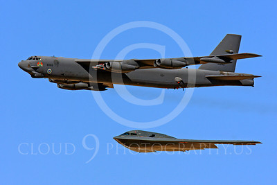 B-52 00182 USAF Boeing B-52 Stratofortress strategic bomber with USAF Northrop B-2 Spirit stealth strategic bomber by Peter J Mancus