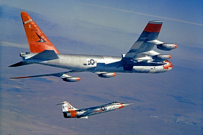 B-52 00024 Boeing NB-52 Stratofortress with X-15 and F-104 produced by Peter J Mancus