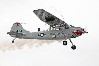 WB - Cessna O-1 Bird Dog 00008 A Cessna O-1 Bird Dog warbird with sharkmouth in flight, by Peter J Mancus