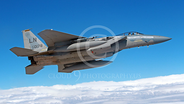 F-15USAF 00270 A flying USAF McDonnell Douglas F-15 Eagle jet fighter LN code 860178, by Peter J Mancus