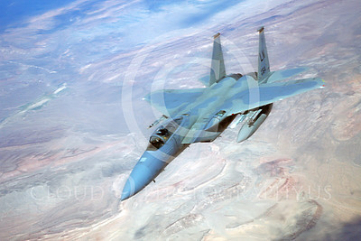 F-15USAF 00228 A USAF McDonnell Douglas F-15 Eagle jet fighter over Nevada,  LN code, by Peter J Mancus