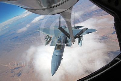 F-15USAF 00202 A USAF McDonnell Douglas F-15 Eagle jet fighter refuels from a USAF Boeing KC-135 Stratotanker over Nevada, by Peter J Mancus